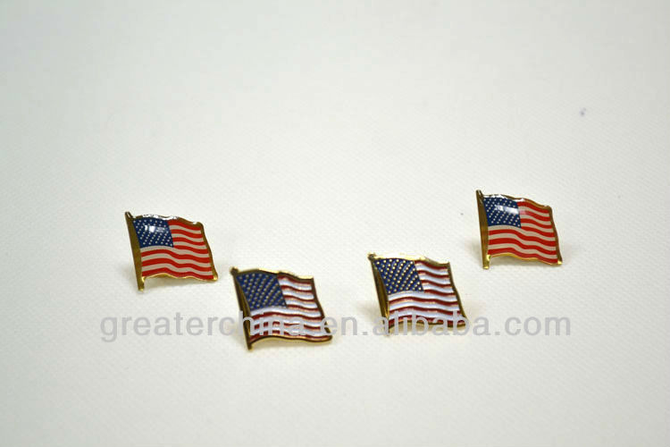 Custom zinc alloy metal label pins with USA flag logo