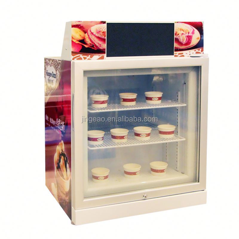 JGA 2016 68L Ice Cream Upright Negative Temperature Freezer With Single Grass Door For Supermarket Or Shop