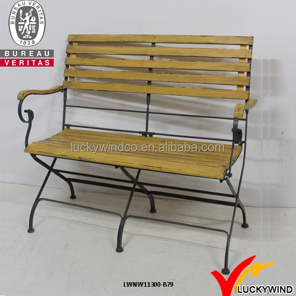outdoor garden wood and metal folding bench
