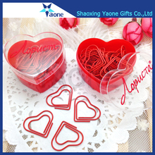Decorative best gifts custom shaped metal red heart paper clip