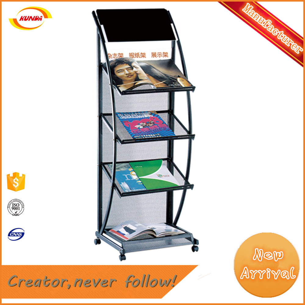 Elegant design stainless steel tabloid rack with 4 wheels Kunda J-018