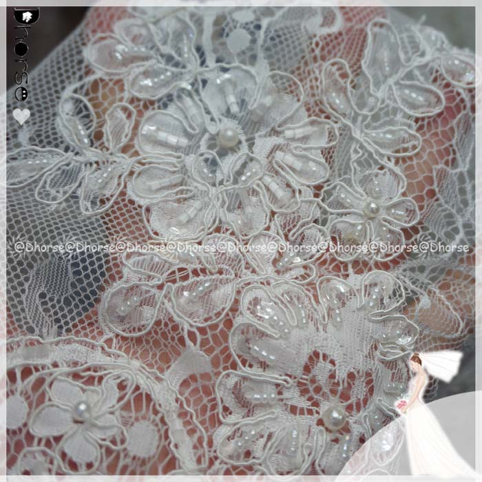 New style hand beaded french eyelash lace wedding dress fabric DHFL0675