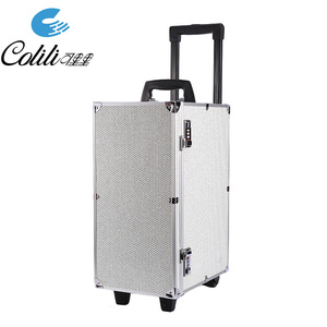 Rolling large trolley aluminum makeup necklace storage travel jewelry case