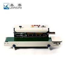 China manufacturer plastic film horizontal continuous heat band sealer with printing date coding
