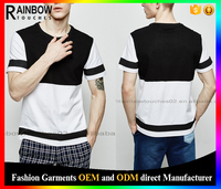 wholesale striped new model mens led brand 100% black white two tone t-shirt