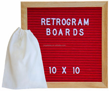 Felt Letter Board Oak Stand Travel Bag Square 10X10 Inches Sign with Changeable Messages & Characters for Restaurant, Office