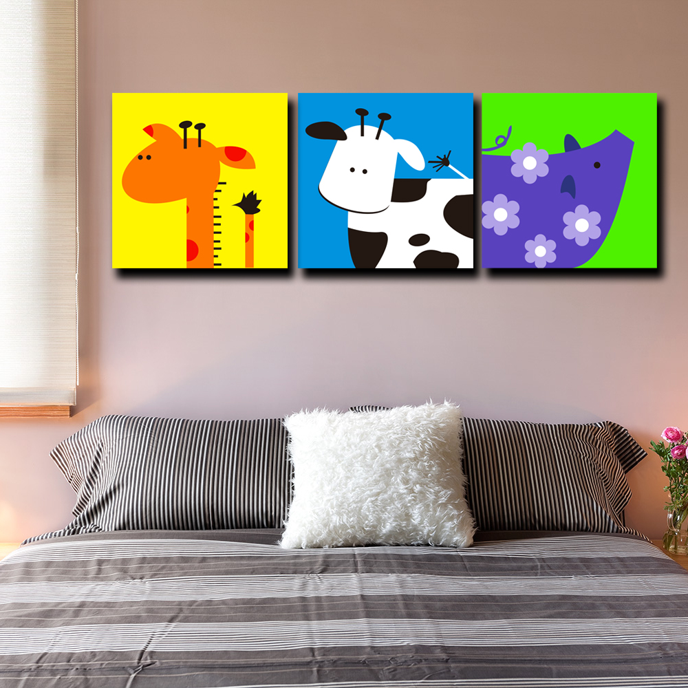 No Frame Home Decoration Children Room Printed Oil Painting Pictures Cute Cartoon Canvas Prints