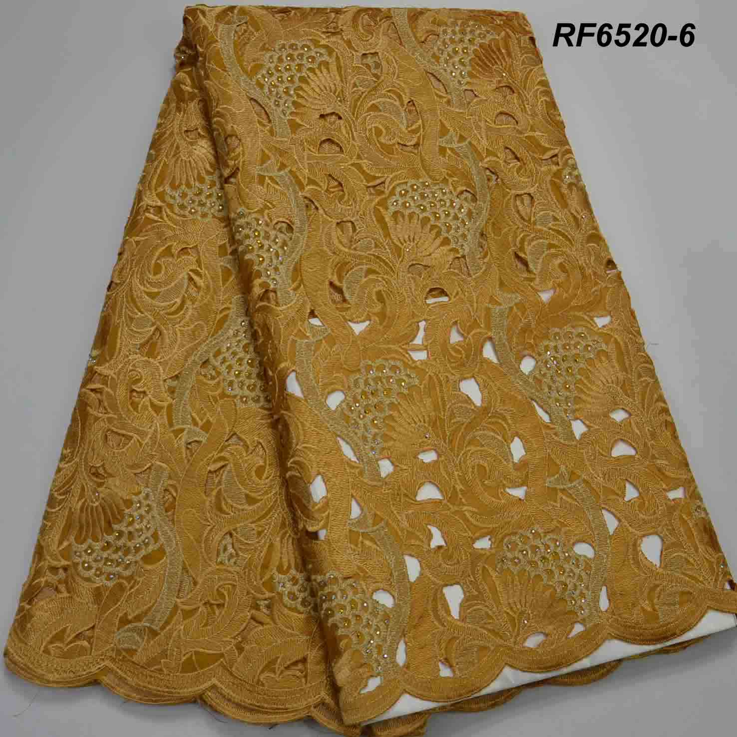 Gold brown Heavy African handcut Lace <strong>Fabrics</strong> 100% <strong>cotton</strong> swiss voile <strong>holes</strong> dry lace