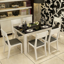 Fast Delivery Key product modern glass dinning table set wood dining table prices