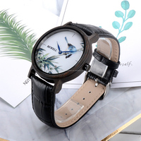 Wholesale Custom Logo Bamboo engraved wooden watch with Black Cowhide Leather Strap Quartz Movement Casual Watches
