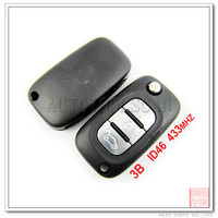 AK010008 Key blanks wholesale for Renault Fluence Flip 3 Button Remote Key 433MHz with ID46 transponder chip inside