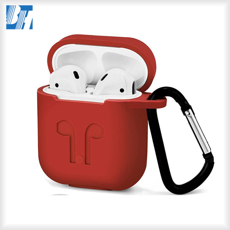 New Air Pods Silicone Case Sleeve Skin With Anti-lost Carabiner For AirPods Charging Case