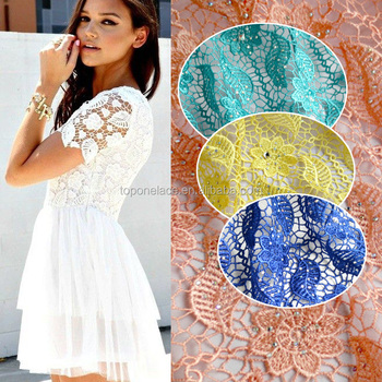 2016 Top one White color Guipure Lace Fabric High Quality Embroidery Cord Lace Fabric