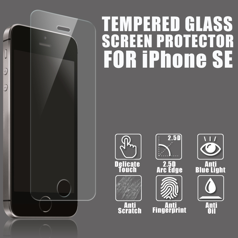 2016 Top Quality 9H 2.5D 0.3mm Nano Tech Premium Tempered Glass Screen Protector for Iphone 5 5S SE / 6 6s