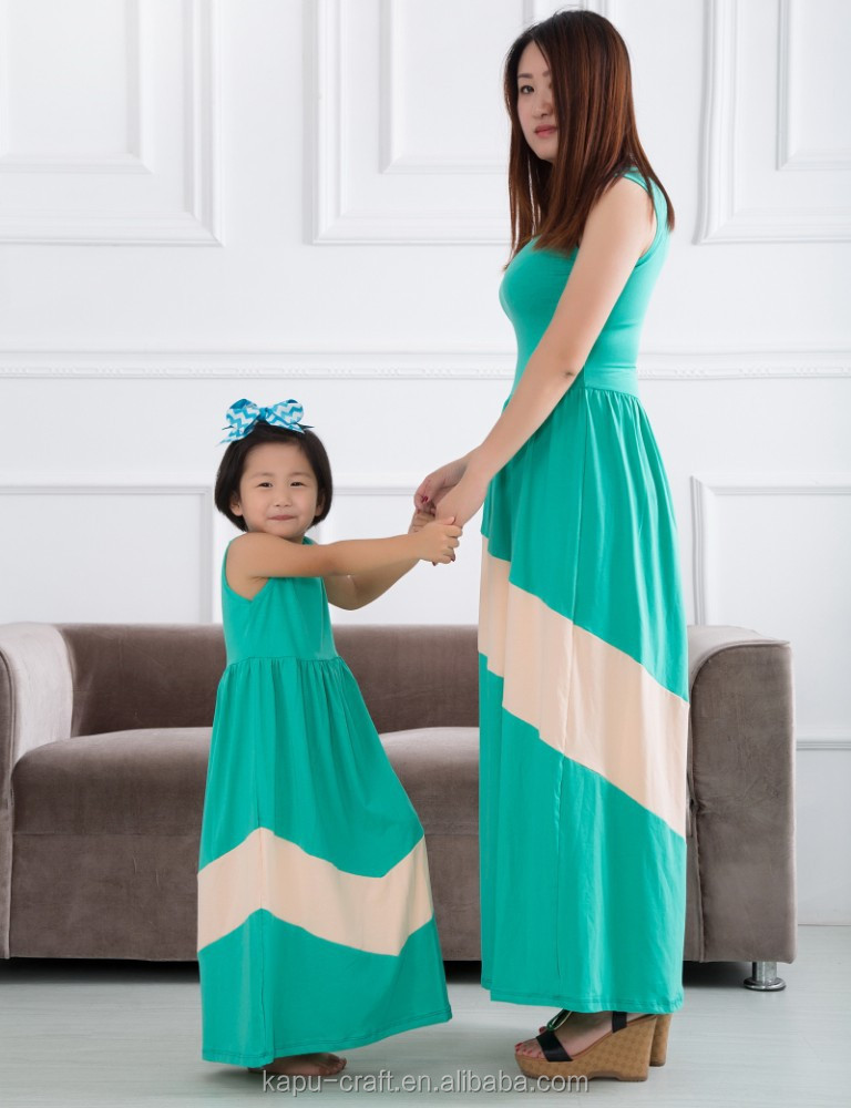 2015custom Wholesale Hot Sale Summer cotton short sleeve fashion design small girls chevron maxi dress mother and child dress
