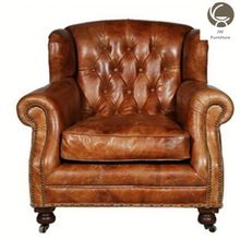 High quality Leather chairs long back wood one seat sofa chair