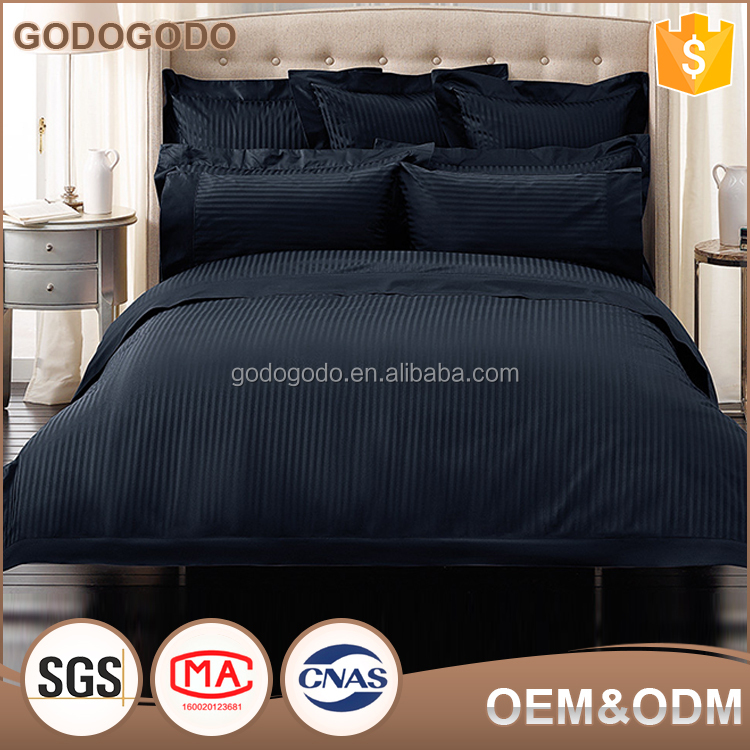Competitive Price 5 Star Hotel Comforter Set 100% Cotton Queen Size Stripe Satin Wholesale Bedding Set