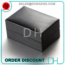Fashion High Quality Black Color Leather Cufflinks Box