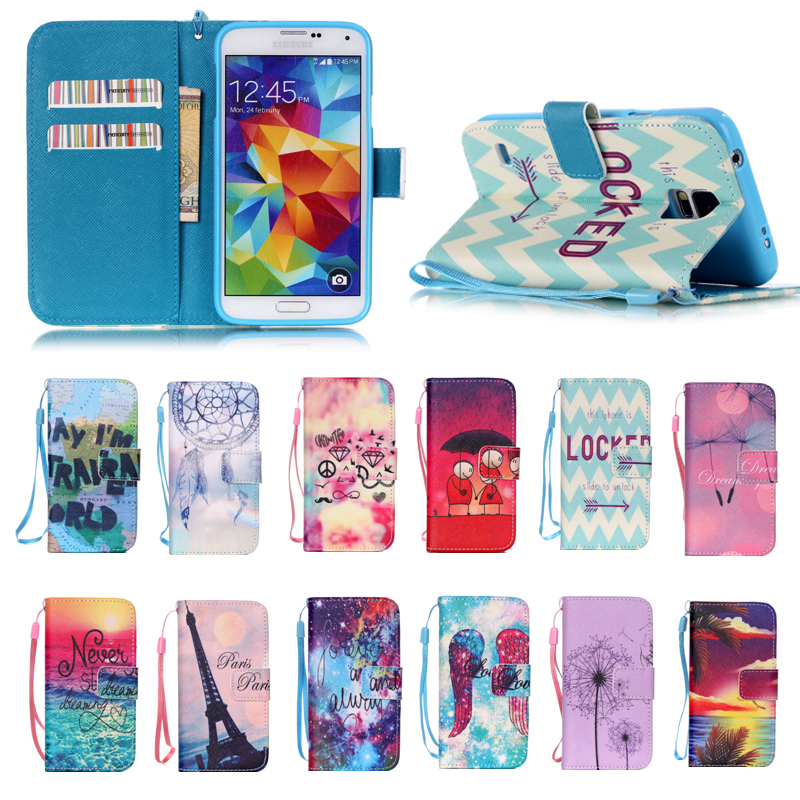 Fancy Colorful soft tpu + PU leather cover Case for samsung S5, for Samsung S5 leather case with Hand Strap