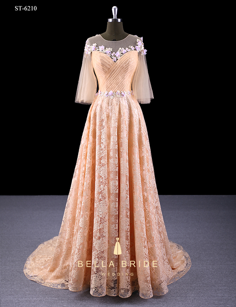 Elegant A line mother of the bride dresses half sleeve wedding party long dresses champagne gold lace evening dress party gown