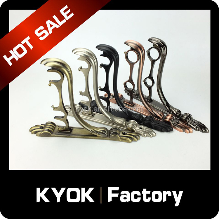 KYOK High quality !! Matt Black Adjustable Metal Curtain Rod Bracket