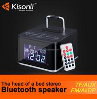 Powerful Music Bluetooth Speaker Portable Docking Station Wireless Speaker With Calendar Radio Alarm Clock TF Slot