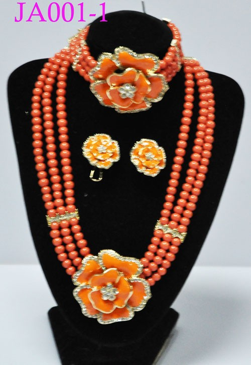 JA001-1 orange original coral beads necklace women's jewelry sets for nigerian wedding