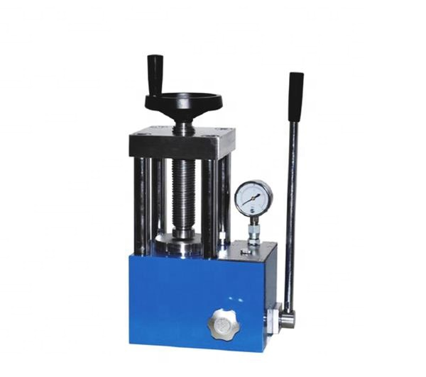 Desktop manual laboratory hydraulic press for X-ray fluorescence spectroscopy sample preparation