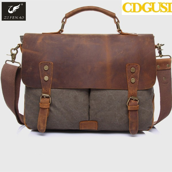 2017 High Quality Vintage Men Crossbody Sholder Bag Canvas Leather Satchel Military Bag Men's Messenger Bags