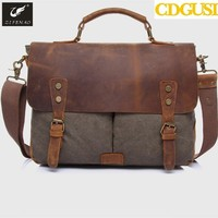 New High Quality Vintage Men Crossbody Sholder Bag Canvas Leather Satchel Military Bag Brand Men's Messenger Bags