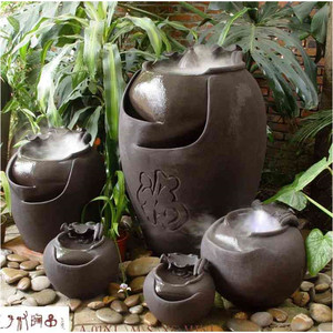 China Contemporary Hand Throwing Home Decor Pottery Pot Made In China Japanese garden water fountain Humidifier