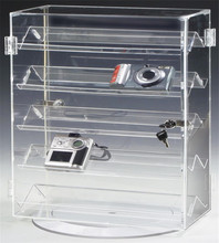 Small Rotating Base acrylic Display Case for Counter with 5 Double-Sided Shelves Hinged Door