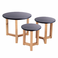 scandinavian small 3 solid oak wood black end table set with black MDF top
