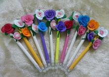 2014 wholesale cute novelty design pretty cartoon double roses shape ball pen 0.5mm