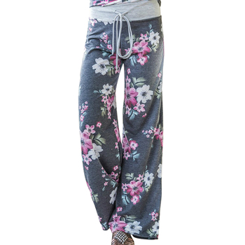 Fashion Loose Wide Leg Long Pant Floral Print Casual High Waist Palazzo Leggings Trouser Womens Pajama Pants At Home