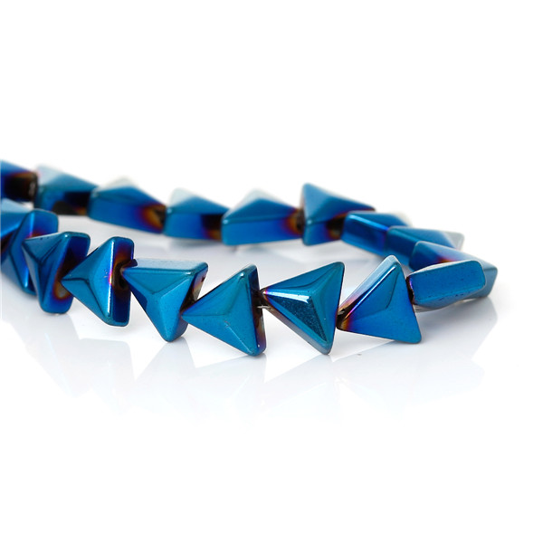 Natural Hematite Beads Triangle Dark blue About 7.0mm x 6.0mm, Hole: Approx 1.0mm,40cm long, 2 Strands
