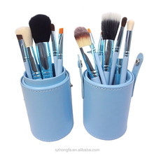 2017 new design blue12 pcs mermaid oval makeup brush set with cylinder