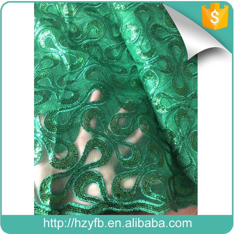 Fashion embroidery designs green net lace african style french lace with sequence