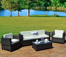 Dark color cheap outdoor terrrace sofa chair and coffee table set synthetic rattan colonial style furniture