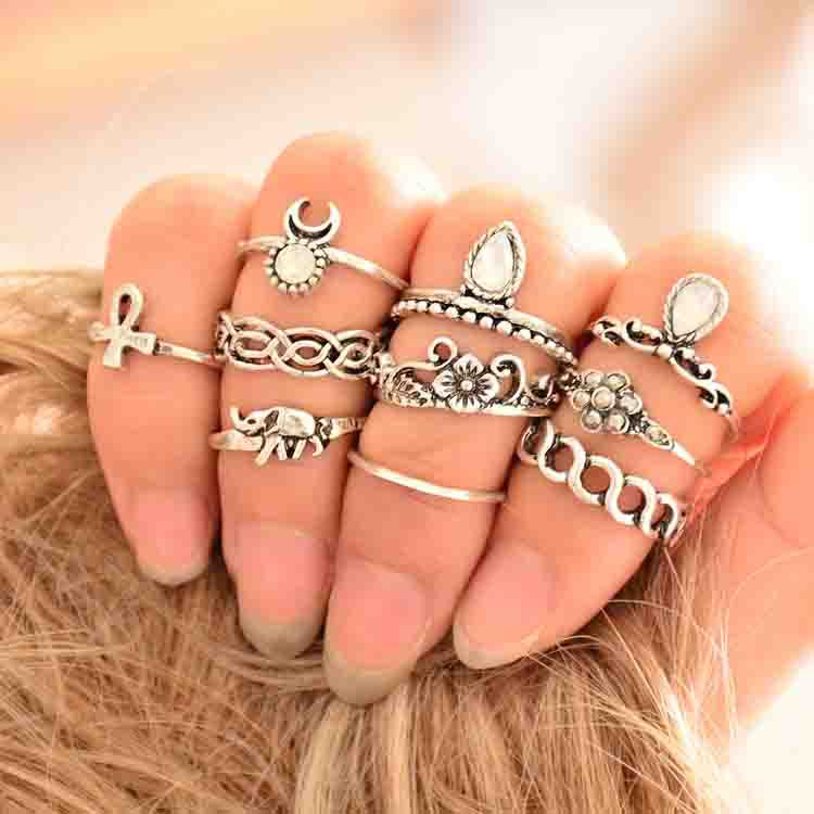 10PCS/Set Antique Silver Plated Vintage Bohemian Turkish Midi Ring factory Set Snake Turquoise Ring Knuckle Rings wholesale