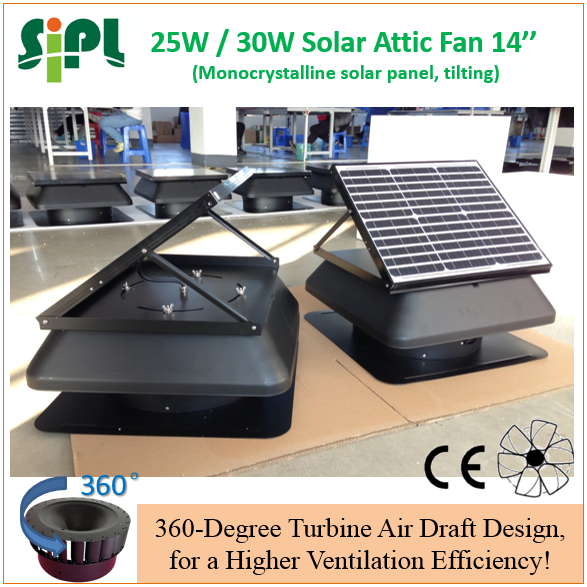 SUNNY FAN 30 watt high quality solar panel powered attic air ventilating fan industrial roof mounted heat exhaust fans