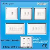 Z range high quality 10 A british standard uk one way or two way wall switches (1gang, 2gang, 3gang, 4gang, 5gang, 6 gang)