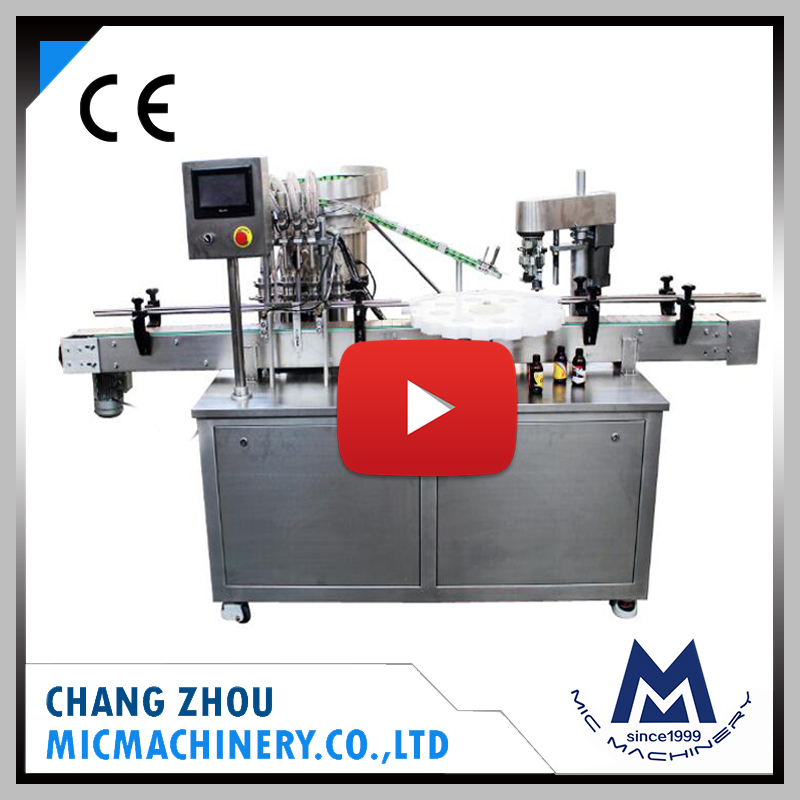 MIC CE approved cheap automatic small glass bottle liquid syrup filling and capping machine line
