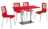Colorful square wood design dining table and 4 chairs set /stainless steel frame dining set CA113