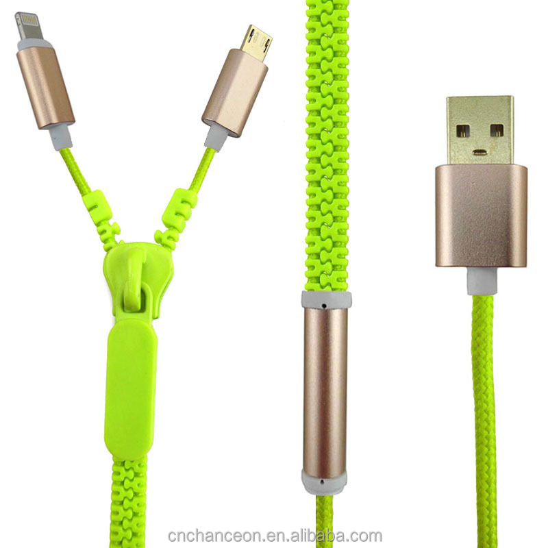 High quality 8pin zipper pattern fast speed 2 in 1 USB data cable for Andriod and Apple IOS CO-UDC-519