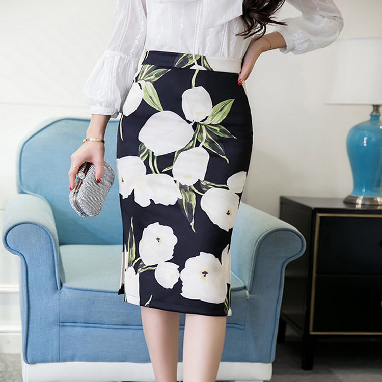 OEM High Waisted Zip Up New Fashion Flower Printed Casual Ladies Skirt
