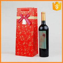 Custom recycled fancy paper christmas red wine bottle gift bags