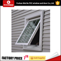 White color double tempered glass pvc/upvc awning window