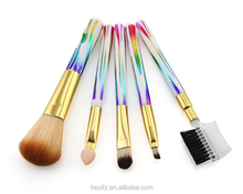 Synthetic Hair 5PCS Rainbow Handle Travelling Makeup Brush Set With PVC Pouch