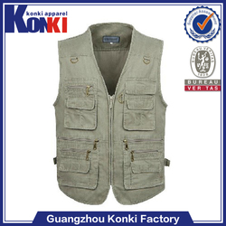 wholesale mens clothing mens casual vest with many pockets